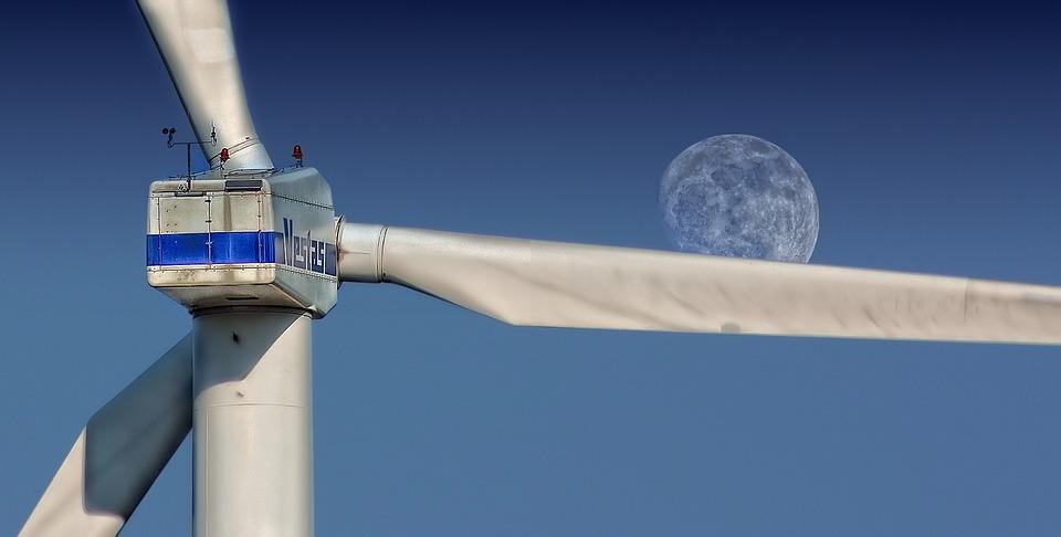 風車, 空, 月, タービン, 風力タービン, 風力発電所, 構造, 風力エネルギー, 風力発電, 環境技術