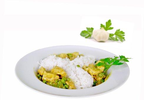 Food Rice Peas Curry Chicken Coriander Lea
