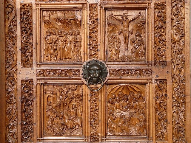 Wood carving door church · free photo on pixabay
