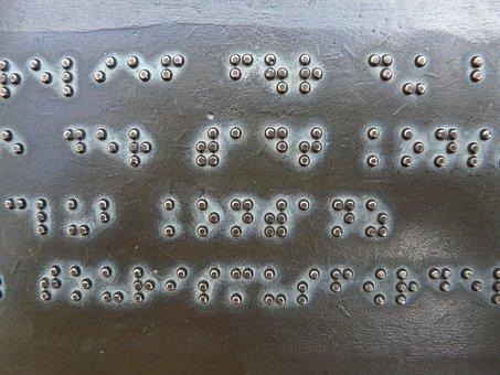 点字, フォント, キー, 金属板, ブロンズ, 明白です, 視覚障害者