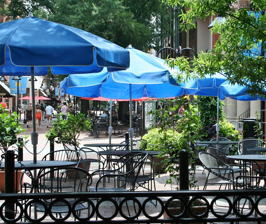 Sidewalk Cafe Sidewalk Restaurant 53318 on outdoor tables and chairs