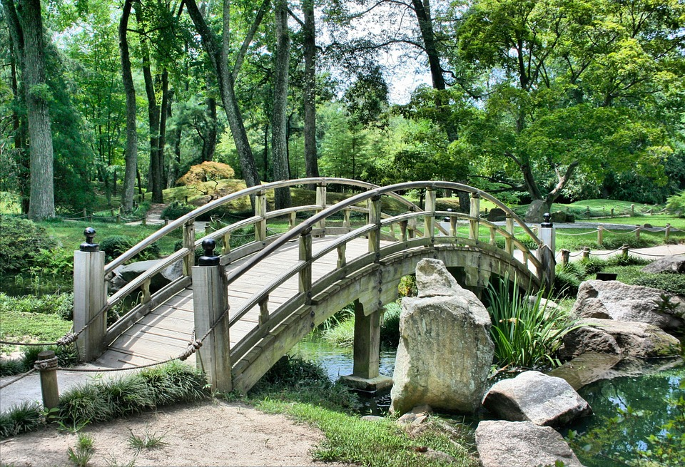 Bridge Japanese Garden Arch Park Gardening Green