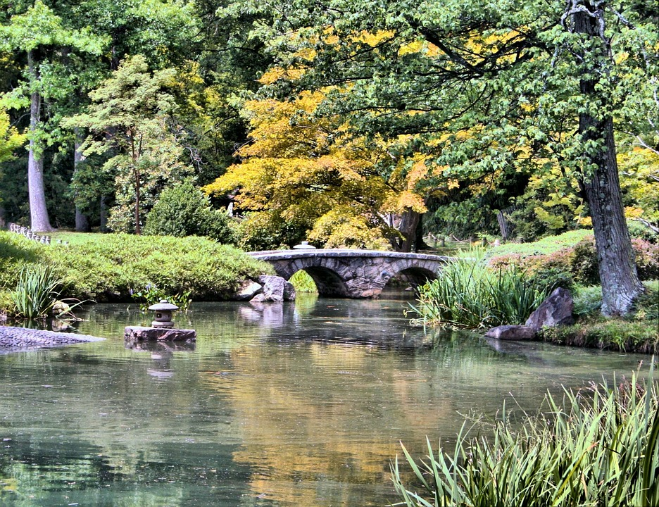 Japanese Garden Stone Bridge free photo: japanese garden, stone bridge, pond - free image on