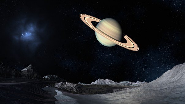 Saturn, Space, Lunar Surface, Planet