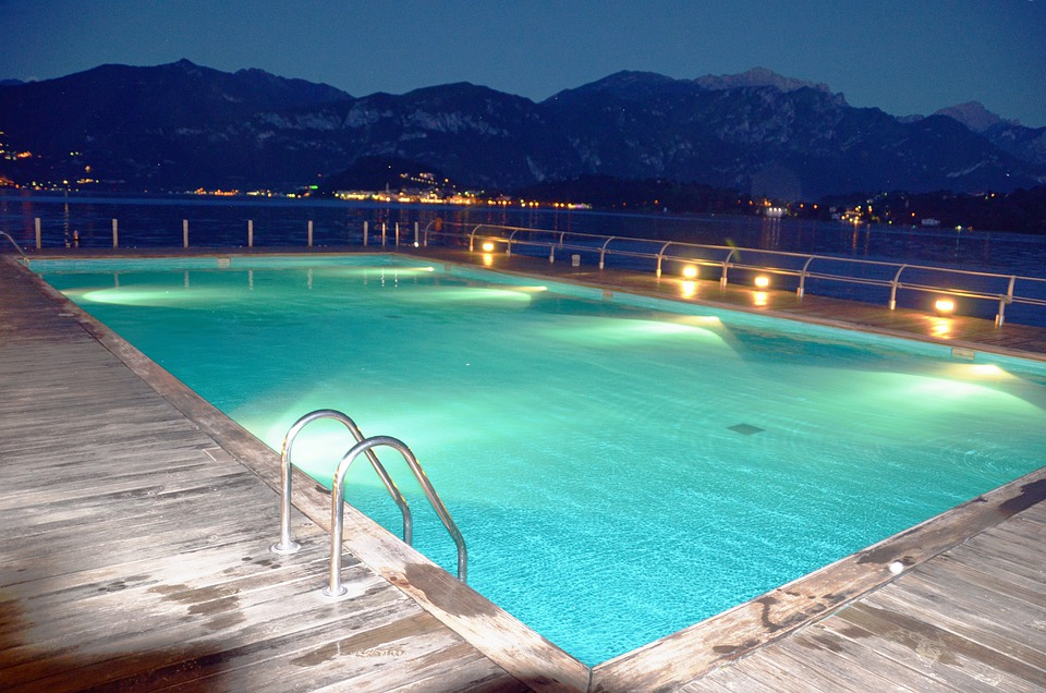 Pool, Pool, Water, Lights, Reflection, Night, Horizon