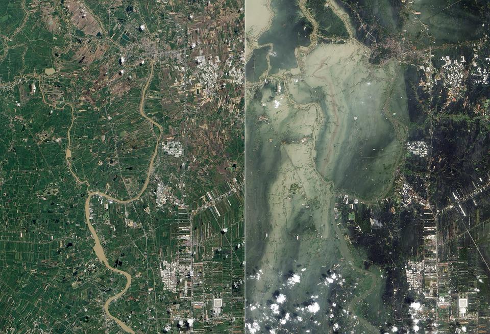 Inundação, Tsunami, Ayutthaya, Imagem De Satélite