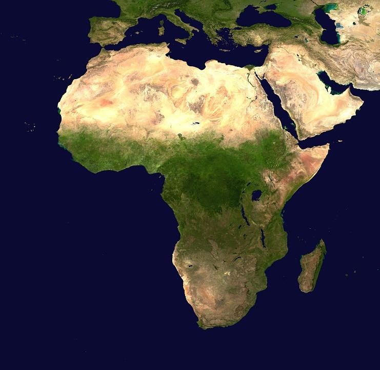 アフリカ, 大陸, 空中写真, 地理学, 地図, 衛星画像, 大西洋, インド洋, 中東, 赤い海, 地中海