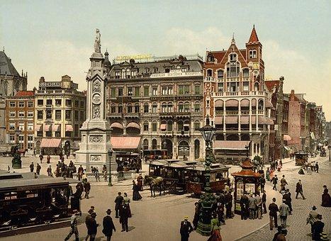 Dam Square, Amsterdam, Photochrom