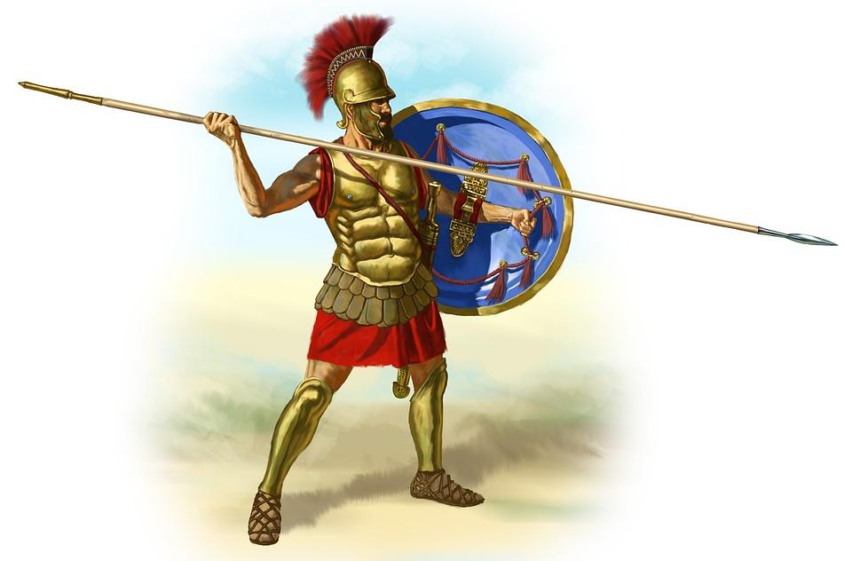 Romanos, Gladiator, Lanza, Hoplita, Griego, Soldado