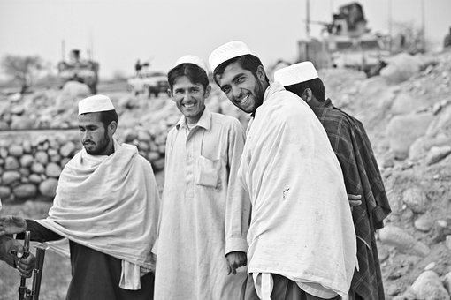 男性, 人, にこやか, 肖像画, グループ, イスラム教徒, 伝統的な