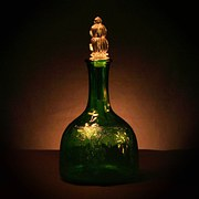 Vinegar Jar, Green Glass, Bottle