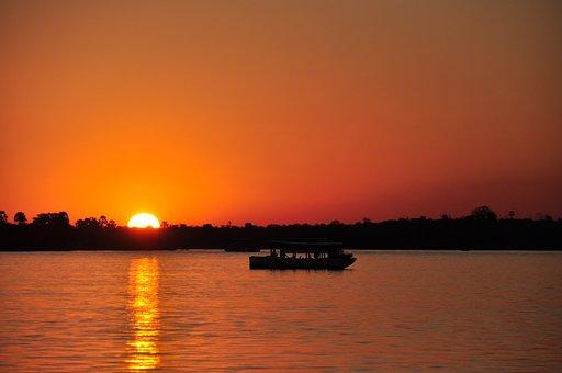 サンセット, 川, 太陽, ブート, ザンベジ川, ロマンス, 水