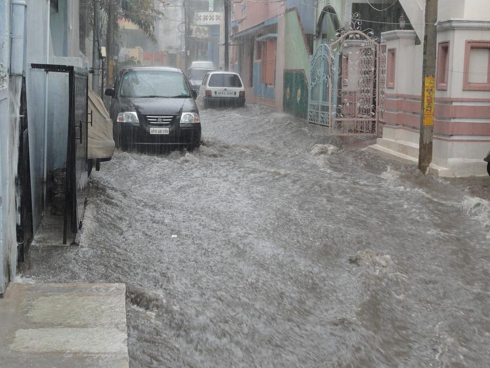 洪水, 水, 通り, 災害, 緊急, 車, インド