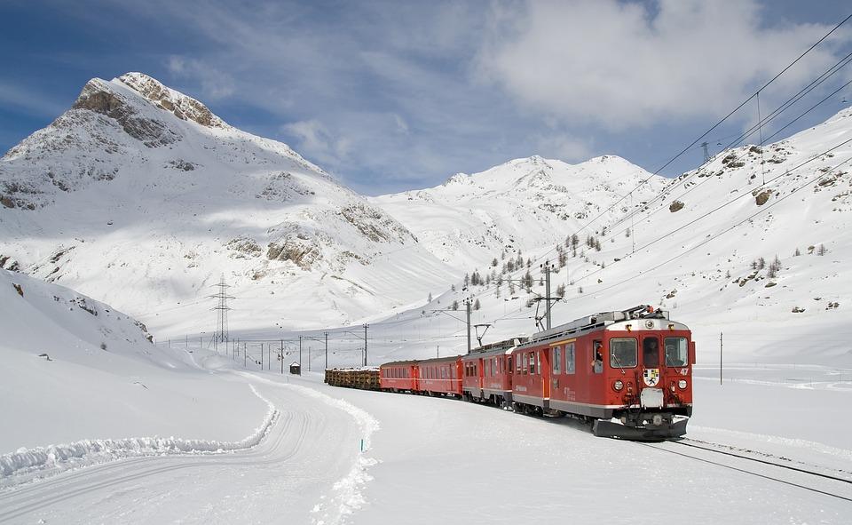 Eisenbahn, Berninabahn, Lagalb, Bernina, Winter, Zug