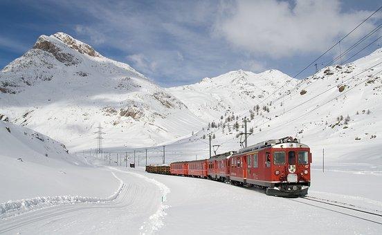 Train, Railway, Snow, Winter, Railroad