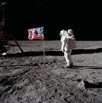 Moon Landing Buzz Aldrin America 1969 Flag