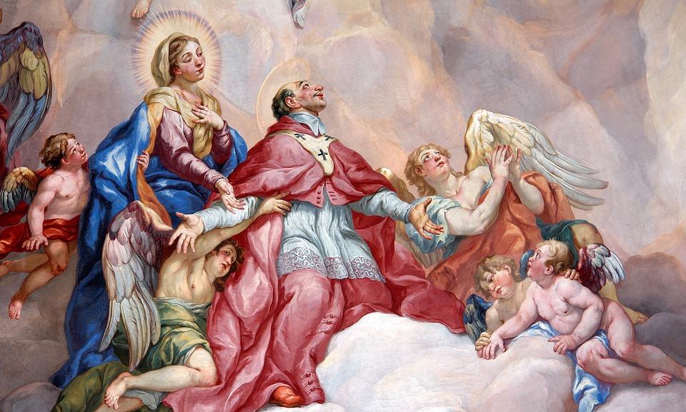 絵をカバー, 執り成しの祈り, 宗教, 聖マリア, カトリック教会, 信仰, 絵画, 教会, 神, ハロー