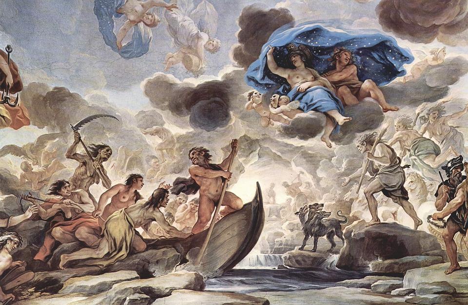 フレスコ画, 壁画, カロン, モーフィアス, ギリシャ神話, ルカ ・ ジョルダーノ, 1680, アート