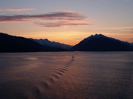 氷河湾, 日没, アラスカ州, 氷河, 国家, 公園, 海, 水, 夕暮れ