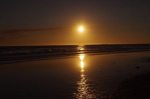 Puesta Del Sol, Mar, Cielo