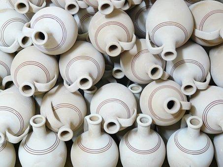 水差し, 陶器, 壊れやすい, 土製の材料, 土器, セラミック, 陶器, 陶器