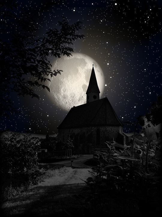 Church Moon Night Shadow Star Sky Gespenstig