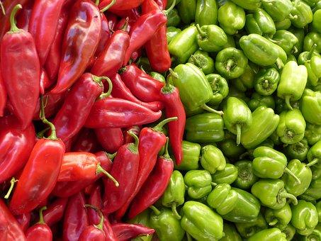 パプリカ, 緑, 赤, 野菜, 赤唐辛子, ピーマン, 販売, 市場