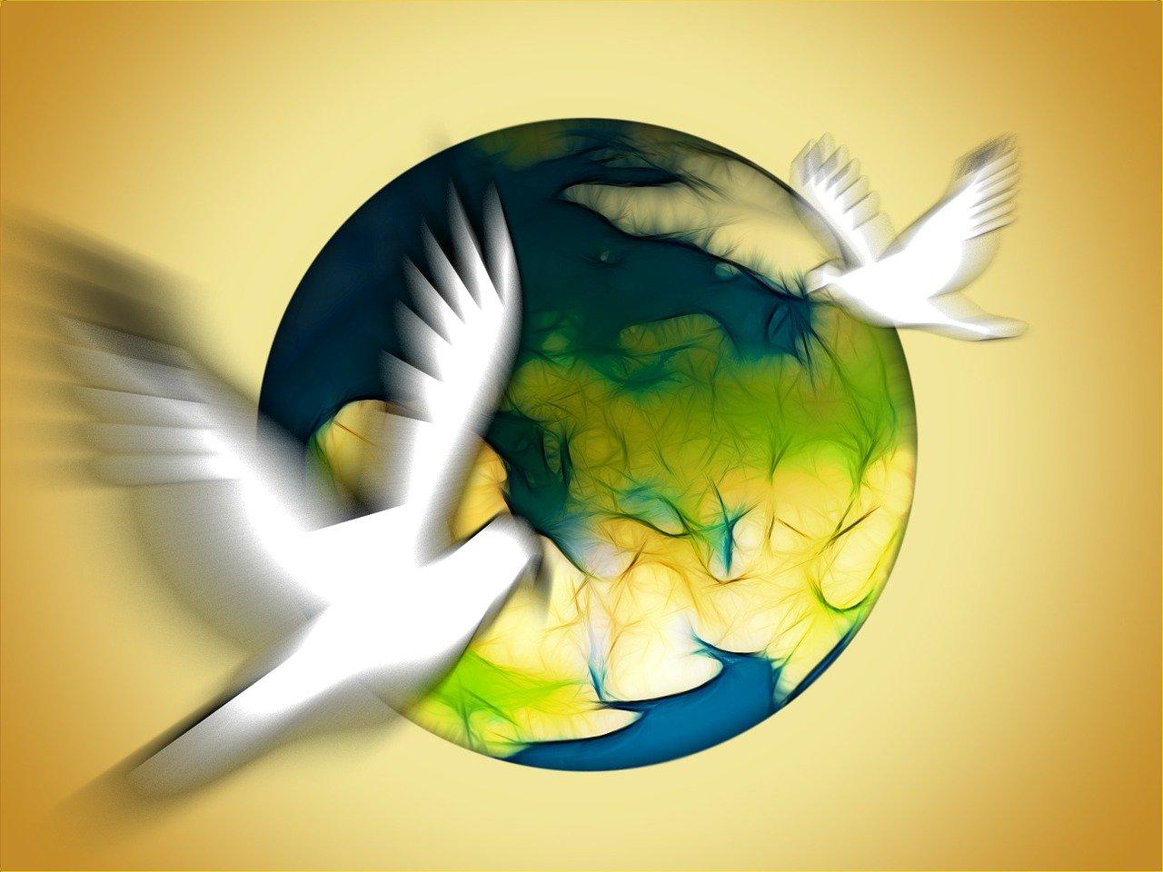 Символ мира голубь и шар земной картинки