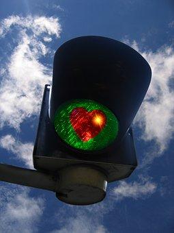 信号, 緑, 心, 愛, 運, 関係, ありがとう, グリーティング カード