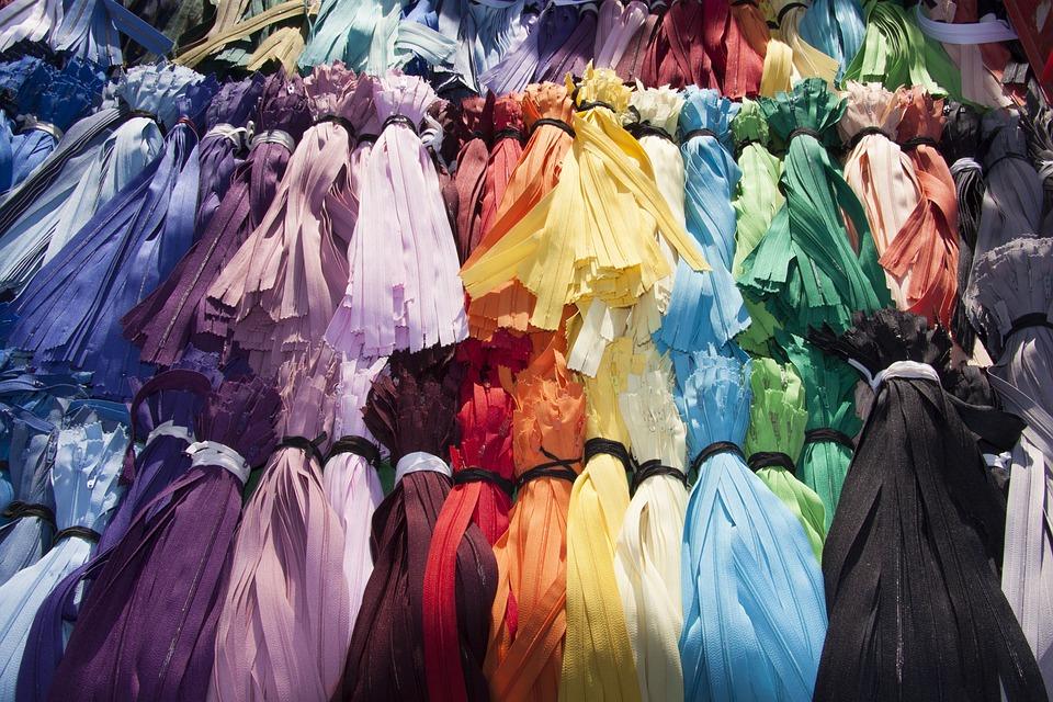 フリー マーケット, ジッパー, カラフル, 色, 選択, Zip, 繊維ストラップ