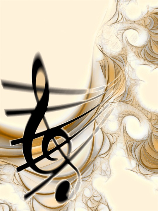 An artistic rendering of sheet music has the treble clef and the musical staff fading into the distance