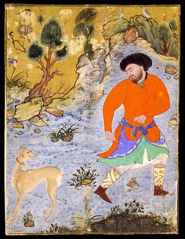 Painting, Drawing, Man, Dog, Saluki
