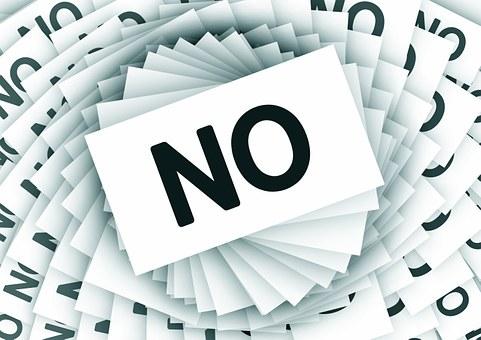 いいえ, 負, カード, スパイラル, キャンセル, 拒絶反応, 撥, 撤退