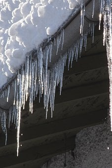 Ice, Icicle, Cold, Winter, Roof, Gutter