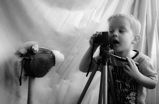 Niño, Fotógrafo, Jugar, Retrato