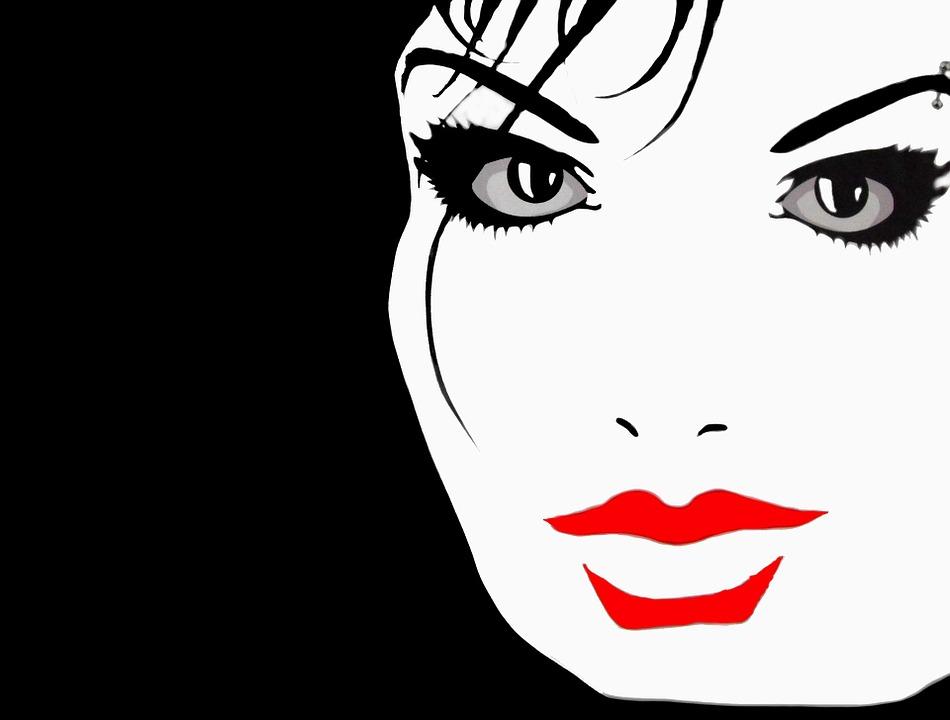 Line Art Wajah : Wajah bibir hitam · gambar gratis di pixabay