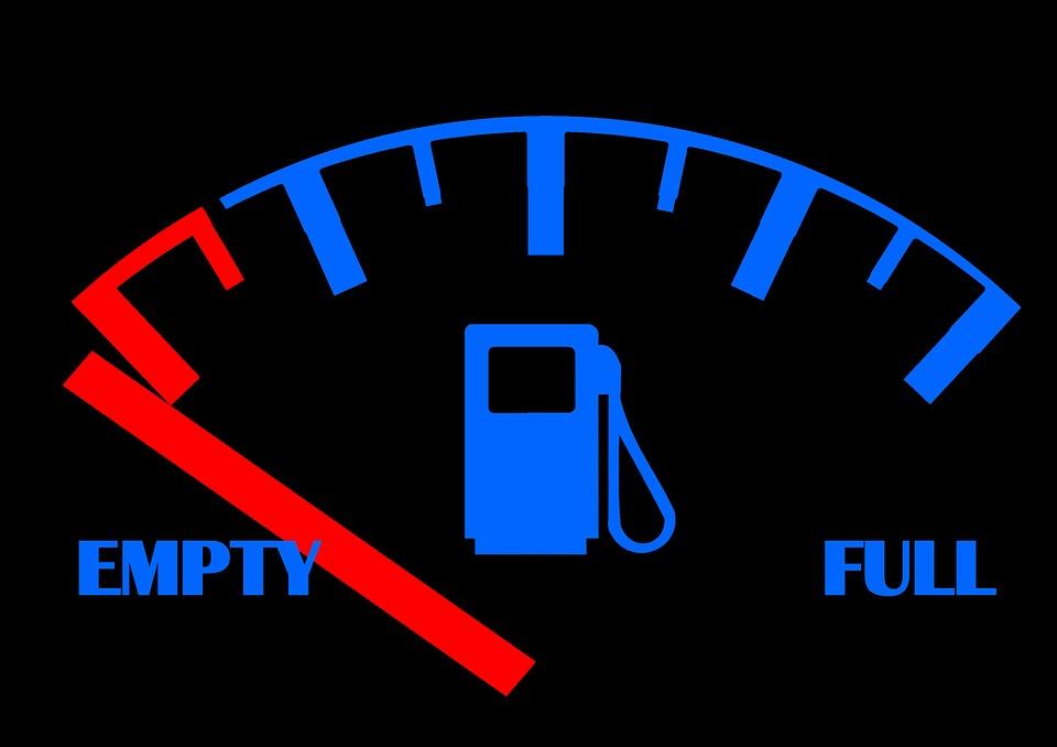 広告, ガソリン, タンク, 残量ゲージ, 完全な, 空, 燃料, ガス, 黒, 赤, エネルギー, 力