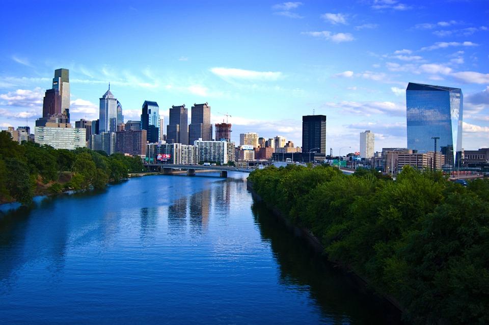 Filadelfia, City, Centrum, Budynku, Skyline