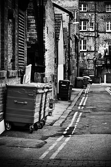 Alleyway, Back Alley, Bin, City, Crime
