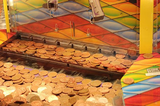 Coin Drop Machine, Arcade, Money, Coins