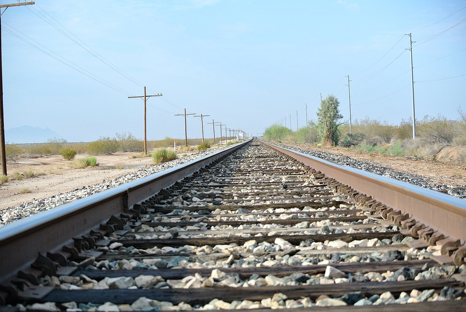 Linear Perspective Psychology Example Train Track Railroad T...