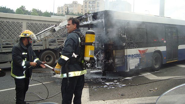 Bus, Accident, Fire, Fire Department