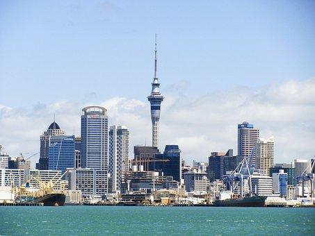 ニュージーランド, スカイライン, オークランド, スカイタワー, 塔, キウイ