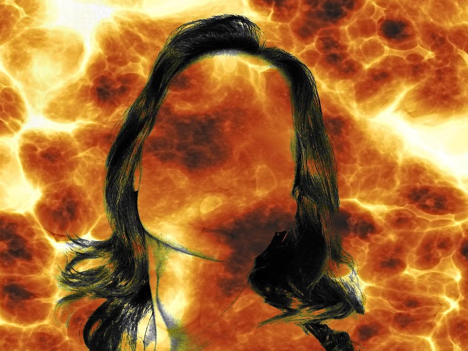 Woman, Face, Contour, Burnout, Blank, Fire, Flame