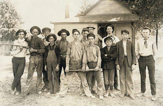 ラスカルズ, みんな, 暴徒, ホイップ少年, 子供, グループ, 白黒, 野球