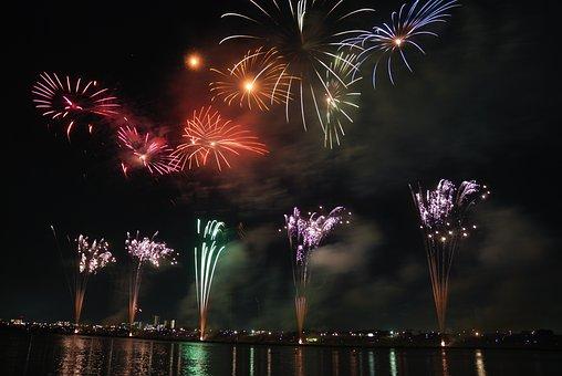 花火, カラフルです, 空, 泊, 日本, 祭り, まつり, 伝統, 江戸川