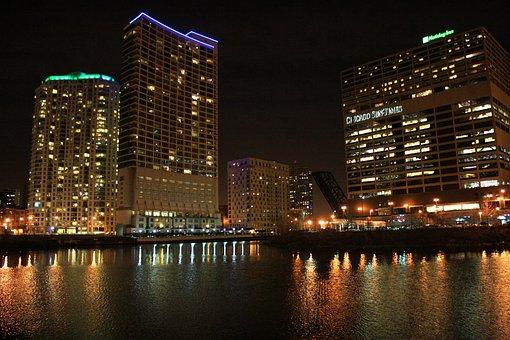 シカゴ, スカイライン, 反射, 都市の景観, タワー, 超高層ビル, 都市