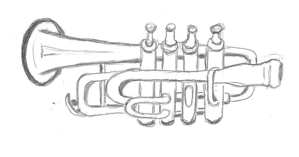 Drawing Trumpet Sketch Free Photo On Pixabay