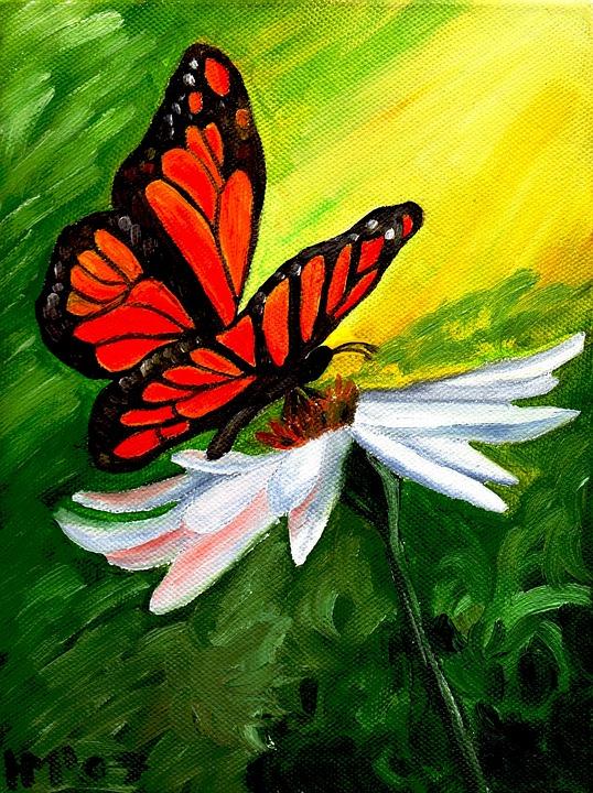 Photo gratuite papillon fleur peinture l 39 huile image for Koi papillon