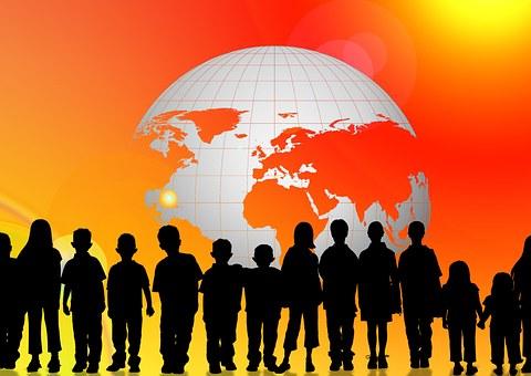 World, Map, Children, Silhouettes